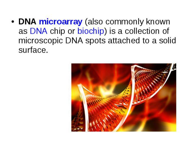 DNA microarray (also commonly known as DNA chip or biochip) is a collection of microscopic DNA spots attached to a solid surface. DNA microarray (also commonly known as DNA chip or biochip) is a coll…