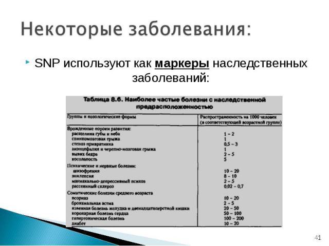 SNP используют как маркеры наследственных заболеваний: SNP используют как маркеры наследственных заболеваний: