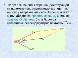 Направление силы Лоренца, действующей на положительно заряженную частицу, так же