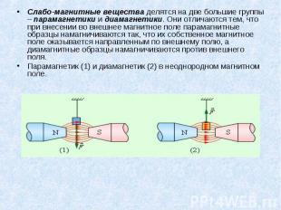 Слабо-магнитные вещества делятся на две большие группы – парамагнетики и диамагн