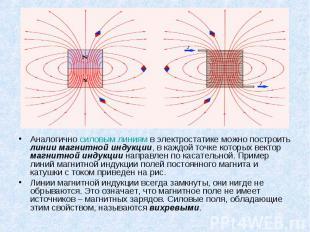Аналогично силовым линиям в электростатике можно построить линии магнитной индук