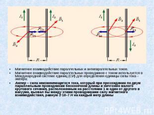 Магнитное взаимодействие параллельных и антипараллельных токов. Магнитное взаимо