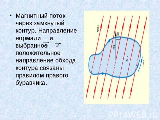 Магнитный поток через замкнутый контур. Направление нормали и выбранное положительное направление обхода контура связаны правилом правого буравчика. Магнитный поток через замкнутый контур. Направление нормали и выбранное положительное направление об…
