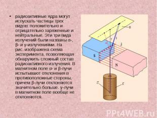 радиоактивные ядра могут испускать частицы трех видов: положительно и отрицатель