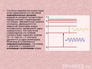 Согласно первому постулату Бора, атом характеризуется системой энергетических ур