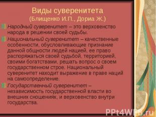 Виды суверенитета (Блищенко И.П., Дориа Ж.) Народный суверенитет – это верховенс