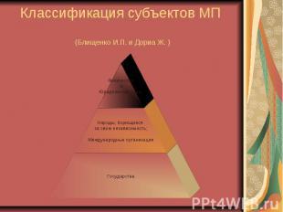 Классификация субъектов МП (Блищенко И.П. и Дориа Ж. )
