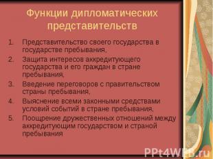 Функции дипломатических представительств Представительство своего государства в