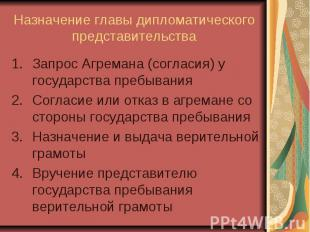 Назначение главы дипломатического представительства Запрос Агремана (согласия) у