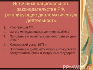 Источники национального законодательства РФ, регулирующие дипломатическую деятел