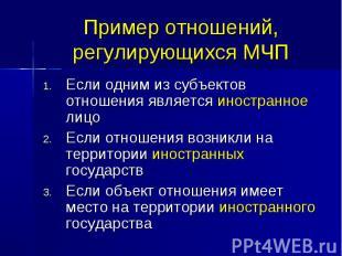 Пример отношений, регулирующихся МЧП Если одним из субъектов отношения является