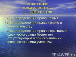 ИСКЛЮЧЕНИЯ, предусмотренные ч.2 ст. 1190 ГК РФ 4) При определении права на имя 5