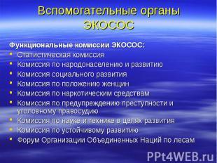 Вспомогательные органы ЭКОСОС Функциональные комиссии ЭКОСОС: Статистическая ком