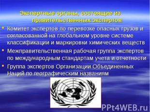 Экспертные органы, состоящие из правительственных экспертов Комитет экспертов по