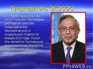 Председатель ЭКОСОС Его Превосходительство посол Хамидон Али избран шестьдесят ш
