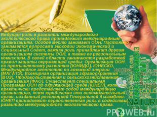 Ведущая роль в развитии международного экологического права принадлежит междунар