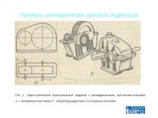 Примеры цилиндрических зубчатых редукторов Рис. 1. Одноступенчатый горизонтальны