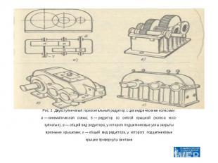 Рис. 2. Двухступенчатый горизонтальный редуктор с цилиндрическими колесами: а —
