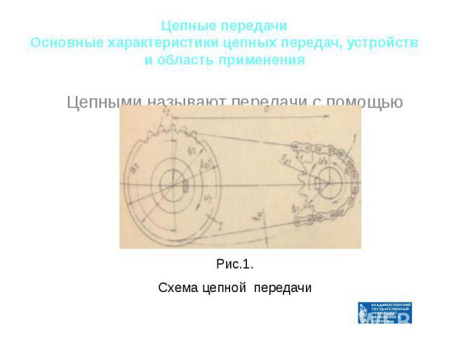 Цепные передачи Основные характеристики цепных передач, устройств и область применения Рис.1. Схема цепной передачи