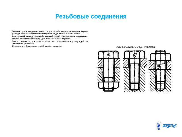 Резьбовые соединения Основные детали соединения имеют наружную либо внутреннюю винтовую нарезку (резьбу) и снабжены огранёнными поверхностями для захвата гаечным ключом. Болт – длинный цилиндр с головкой и наружной резьбой. Проходит сквозь соединяем…