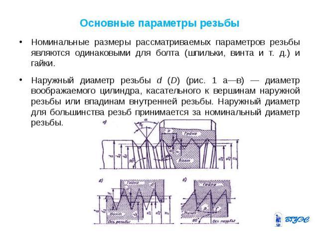 Основные параметры резьбы Номинальные размеры рассматриваемых параметров резьбы являются одинаковыми для болта (шпильки, винта и т. д.) и гайки. Наружный диаметр резьбы d (D) (рис. 1 а—в) — диаметр воображаемого цилиндра, касательного к вершинам нар…