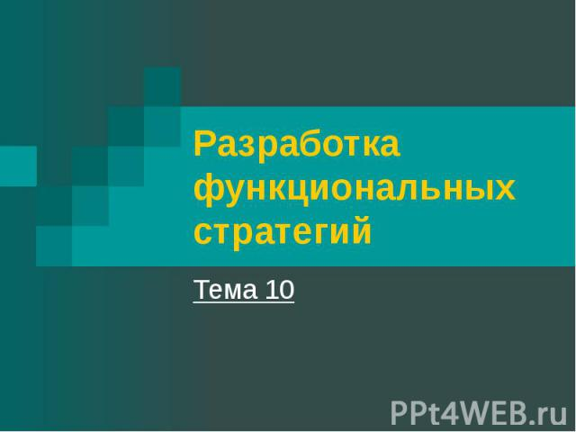 Разработка функциональных стратегий Тема 10