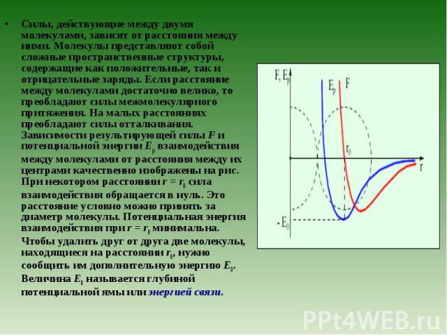 Силы, действующие между двумя молекулами, зависят от расстояния между ними. Молекулы представляют собой сложные пространственные структуры, содержащие как положительные, так и отрицательные заряды. Если расстояние между молекулами достаточно велико,…