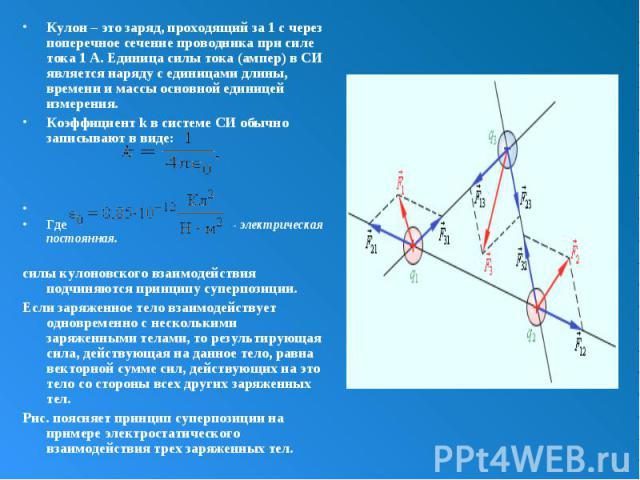 Кулон – это заряд, проходящий за 1с через поперечное сечение проводника при силе тока 1А. Единица силы тока (ампер) в СИ является наряду с единицами длины, времени и массы основной единицей измерения. Кулон – это заряд, проходящий за 1&n…