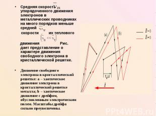 Средняя скорость упорядоченного движения электронов в металлических проводниках