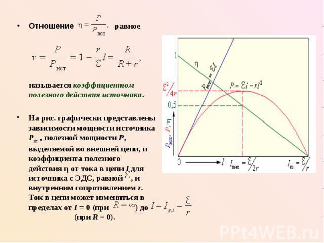 Отношение равное Отношение равное называется коэффициентом полезного действия источника. На рис. графически представлены зависимости мощности источника Pист, полезной мощности P, выделяемой во внешней цепи, и коэффициента полезного действия η …