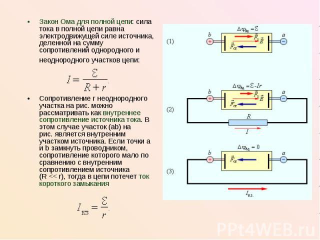 Закон Ома для полной цепи: сила тока в полной цепи равна электродвижущей силе источника, деленной на сумму сопротивлений однородного и неоднородного участков цепи: Закон Ома для полной цепи: сила тока в полной цепи равна электродвижущей силе источни…
