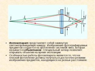 Фотоаппарат представляет собой замкнутую светонепроницаемую камеру. Изображение