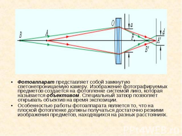 Фотоаппарат представляет собой замкнутую светонепроницаемую камеру. Изображение фотографируемых предметов создается на фотопленке системой линз, которая называется объективом. Специальный затвор позволяет открывать объектив на время экспозиции. Фото…
