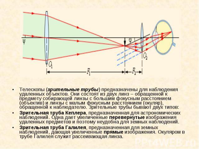 Телескопы (зрительные трубы) предназначены для наблюдения удаленных объектов. Они состоят из двух линз – обращенной к предмету собирающей линзы с большим фокусным расстоянием (объектив) и линзы с малым фокусным расстоянием (окуляр), обращенной к наб…