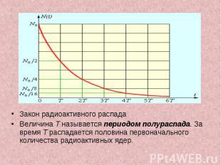 Закон радиоактивного распада Закон радиоактивного распада Величина T называется