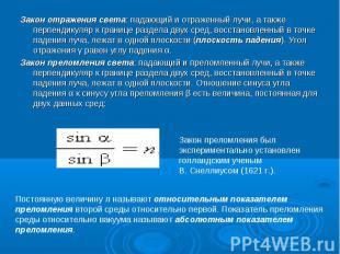 Закон отражения света: падающий и отраженный лучи, а также перпендикуляр к грани