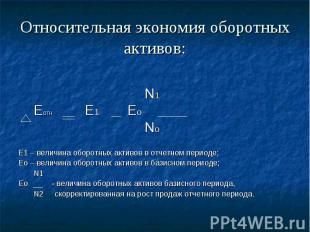 Относительная экономия оборотных активов: N1 Еотн Е1 Ео No Е1 – величина оборотн
