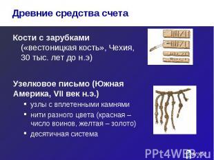 Кости с зарубками («вестоницкая кость», Чехия, 30 тыс. лет до н.э) Кости с заруб