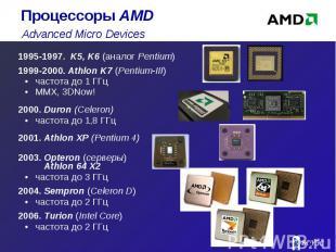 1995-1997. K5, K6 (аналог Pentium) 1995-1997. K5, K6 (аналог Pentium) 1999-2000.