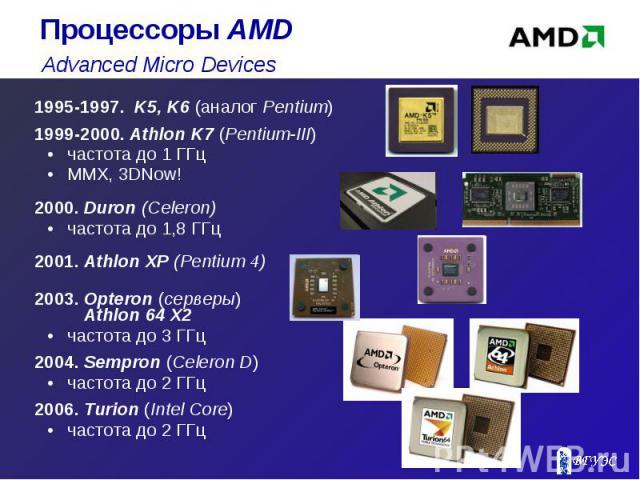 1995-1997. K5, K6 (аналог Pentium) 1995-1997. K5, K6 (аналог Pentium) 1999-2000. Athlon K7 (Pentium-III) частота до 1 ГГц MMX, 3DNow! 2000. Duron (Celeron) частота до 1,8 ГГц 2001. Athlon XP (Pentium 4) 2003. Opteron (серверы) Athlon 64 X2 частота д…