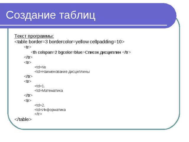 Создание таблиц Текст программы: <table border=3 bordercolor=yellow cellpadding=10> <tr> <th colspan=2 bgcolor=blue>Список дисциплин </tr> </tr> <tr> <td>№ <td>Наименование дисциплины </tr> <t…