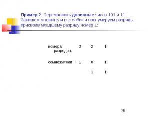 Пример 2. Перемножить двоичные числа 101 и 11. Запишем множители в столбик и про