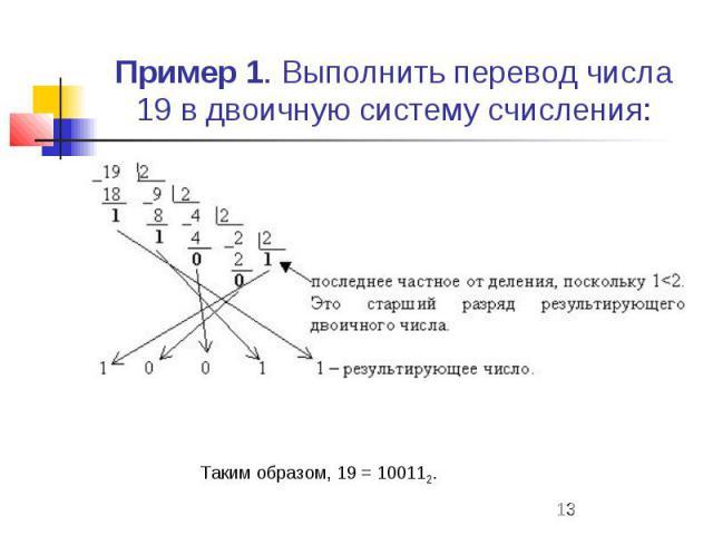 Пример 1. Выполнить перевод числа 19 в двоичную систему счисления: