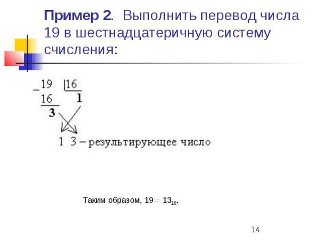 Пример 2. Выполнить перевод числа 19 в шестнадцатеричную систему счисления: