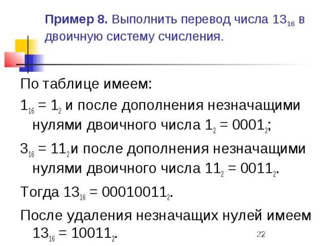 Пример 8. Выполнить перевод числа 1316 в двоичную систему счисления. По таблице имеем: 116 = 12 и после дополнения незначащими нулями двоичного числа 12 = 00012; 316 = 112 и после дополнения незначащими нулями двоичного числа 112 = 00112. Тогда 1316…