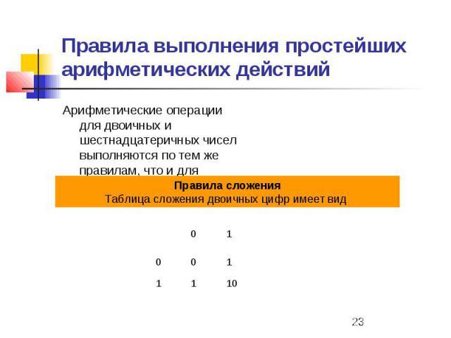 Правила выполнения простейших арифметических действий Арифметические операции для двоичных и шестнадцатеричных чисел выполняются по тем же правилам, что и для десятичных чисел.