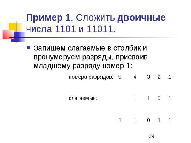 Пример 1. Сложить двоичные числа 1101 и 11011. Запишем слагаемые в столбик и пронумеруем разряды, присвоив младшему разряду номер 1:
