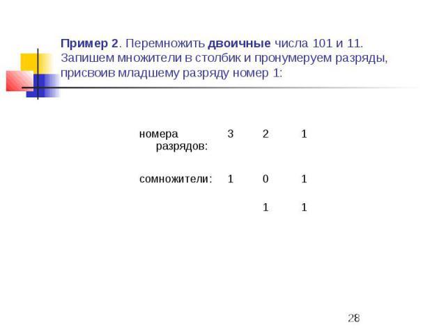 Пример 2. Перемножить двоичные числа 101 и 11. Запишем множители в столбик и пронумеруем разряды, присвоив младшему разряду номер 1: