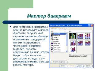 Для построения диаграммы обычно используют Мастер диаграмм, запускаемый щелчком
