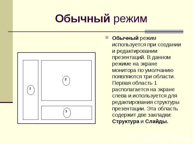 Обычный режим используется при создании и редактировании презентаций. В данном режиме на экране монитора по умолчанию появляются три области. Первая область 1 располагается на экране слева и используется для редактирования структуры презентации. Эта…